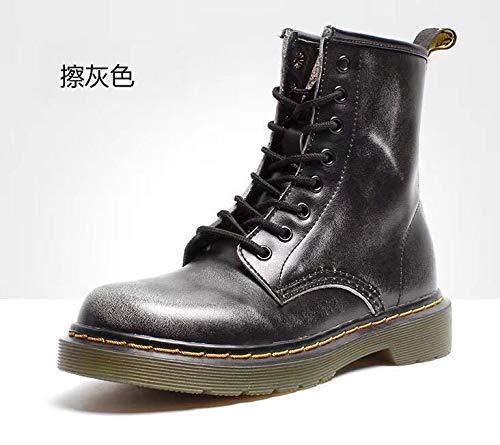 imperméable Automne Chaussures tête en Cuir l'eau Cuir gray ShishangBottes et Martin Hiver en Bottes Top à Ronde OvwSqn