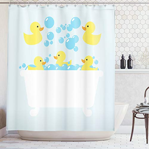 (Lunarable Duckies Shower Curtain, Yellow Rubber Poultry Toys Inside a Tub Abstract Cartoon Style Drawing with Bubbles, Fabric Bathroom Decor Set with Hooks, 70 Inches, Multicolor)