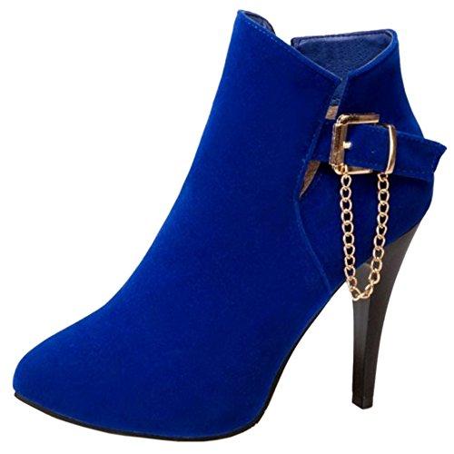 TAOFFEN Women Fashion Zipper High Heels Boots Shoes Metal Chain Blue aGg9feQYkq