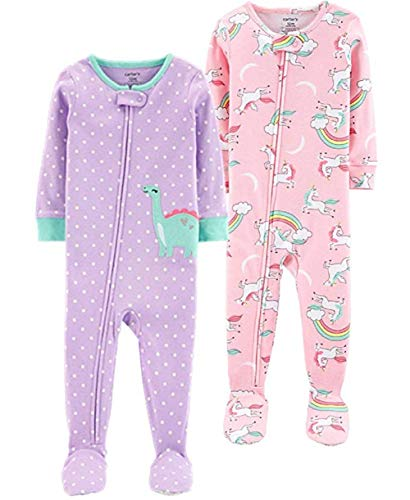 - Carter's Baby Girls' 2-Pack Cotton Pajamas, Dino/Rainbow Unicorn, 18 Months