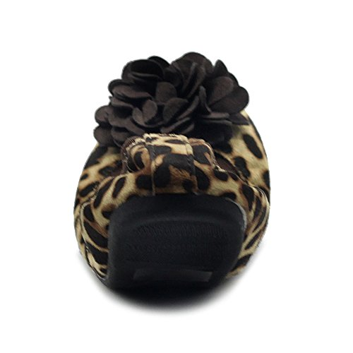 Ollio Scarpe Da Donna Faux Suede Fiore Decorativo Slip On Comfort Light Ballet Flat Leopard