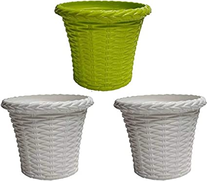 Airex 8 Inch Juhi Plastic Pots/Planter (Garden Pot/Decorative Pots) Pack of, 3 in Multicolor