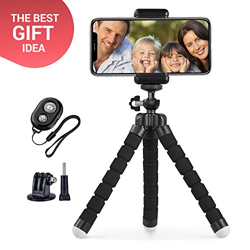 (DH2 Cell Phone Tripod, Adjustable Camera Stand Holder with Wireless Remote & GoPro adapters, Mini Portable Travel Phone Camera Tripod - Best Gift for Travelers, Bloggers, Influencers (Black, S) )