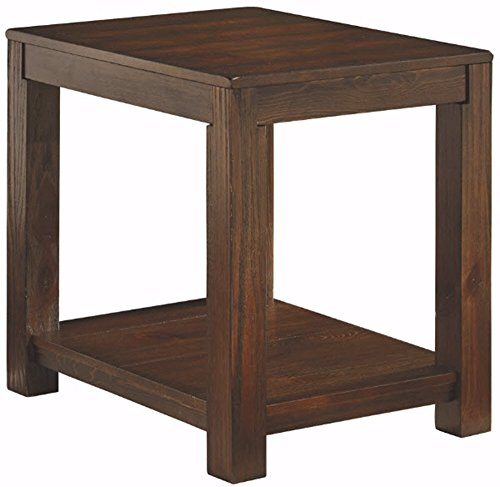 Ashley Furniture Signature Design - Grinlyn Rectangular End Table - 1 Fixed Shelf - Vintage Casual - Rustic Brown by Signature Design by Ashley