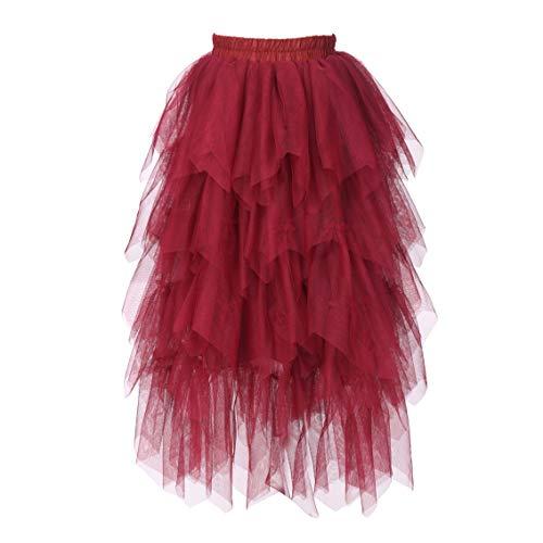 Flower Girls Tutu Lace Cake Dress Skirts Princess Birthday Party Dresses (Wine Red Skirts, 7T)
