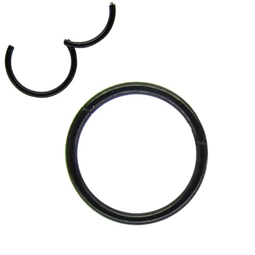 NewkeepsR 18G 10mm(3/8'') Black 316L Steel Nose Hoop Ring Stud Sleeper Earrings Hinged Clicker Seamless Segment Helix Daith Cartilage Lip Piercing