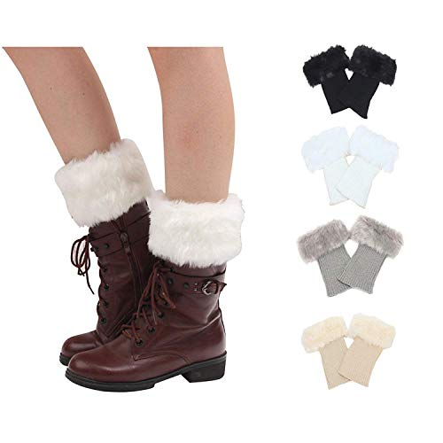 Bestjybt Womens Short Boots Socks Crochet Knitted Boot Cuffs Toppers Leg Warmers Socks (4 Pairs-Style ()