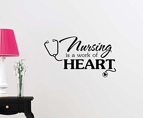 Wall Vinyl Decal Nursing is a work of Heart cute inspirational family love vinyl quote saying wall art lettering sign room decor by Simple Expressions Arts