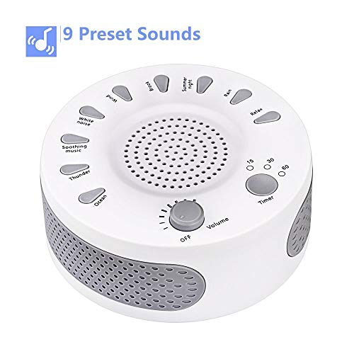 White Noise Machine Sleep Helper Sound Relaxation Machine Rekome Sleep Therapy Sound Machine with 9 Unique Natural Sounds,Sleep Disorders Noise Cancelling for Home,Office,Spa,Yoga.Kids ()
