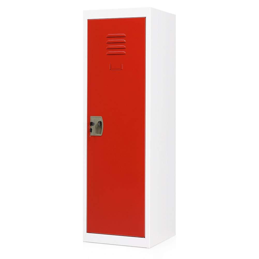 Steel Cabinet with Key and Lock Kids Toy Safe Storage for Home and School Green Door INVIE Kids Metal Storage Locker 3 Tier Steel Locker