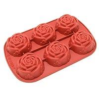 Molde de silicona Freshware, Molde de jabón para budín, Muffin, Magdalena, Tarta de queso y jabón, Rosa, 6 cavidades