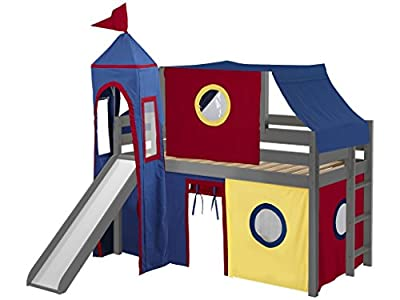 JACKPOT! Castle Low Loft Bed with Slide Red & Blue Tent and Tower