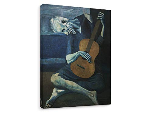 Niwo Art - The Old Guitarist, World's Most Famous Paintings Series, Canvas Wall Art Home Decor, Gallery Wrapped, Stretched, Framed Ready to Hang (36
