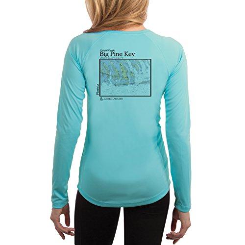 UV//Sun Protection Long Sleeve T-Shirt Big Pine Key Nautical Chart Men/'s UPF 50