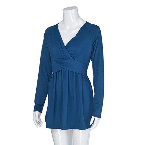 Dark Profonde Sexy Blouse Lache T col Solide Manches Mode Bleu Femmes Longues Flare Couleur Shirt MuSheng en V Tops nXSTqS