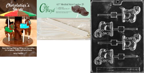 Cybrtrayd 45St25Bk-E417 'Lamb Lolly' Easter Chocolate Candy Mold with 25 4.5-Inch Lollipop Sticks and Chocolatier's Guide