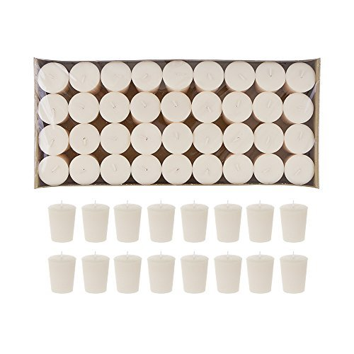 Mega Candles 72 pcs Unscented Ivory Votive Candle | Pressed Wax Candles 15 Hours 1.5