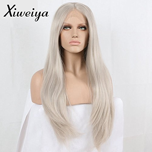 Price comparison product image long hair Silver Platinum Blonde Lace Front Lace Wigs Synthetic Ash Blonde Straight Heat Resistant Fiber Wigs Middle Parting Wig for women