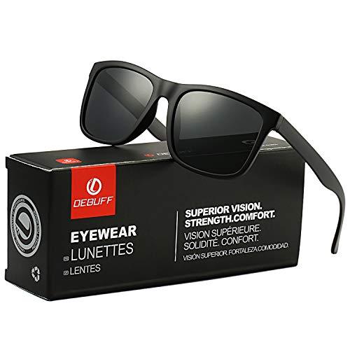DeBuff Unisex Polarized Sunglasses Classic Retro Sun Glasses, Unbreakable TR90 Frame (Matte Black/Gray) (Wayfarer Sunglases)