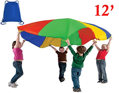 (The Learning Classroom TLC 12-Foot Play Parachute with Drawstring Carry Backpack)
