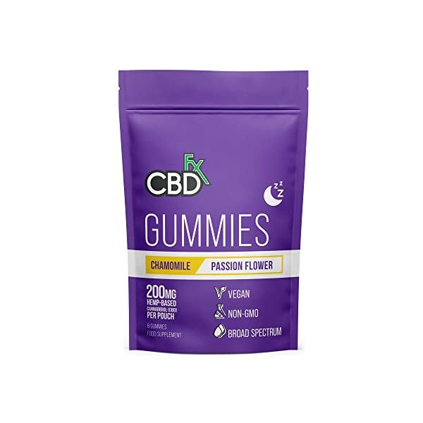 CBDfx Chamomile & Passionflower Sleep CBD Gummies (8 Gummy Pouch) – 200mg CBD