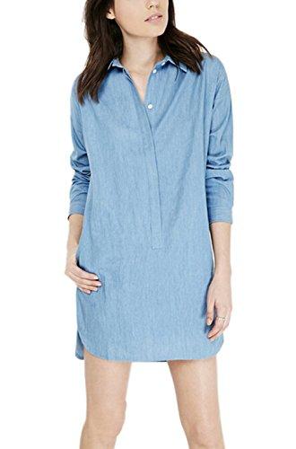 Moon Soul Women Boyfriend Loose Style Shirt Side Pocket Long Leisure Blouse M
