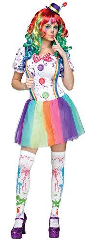 Fun World Women's Color Clown Costume, Multi, (Unique Woman Halloween Costumes)