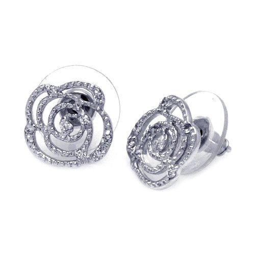 Clear Cubic Zirconia Open Flower Stud Earrings Rhodium Plated Sterling Silver
