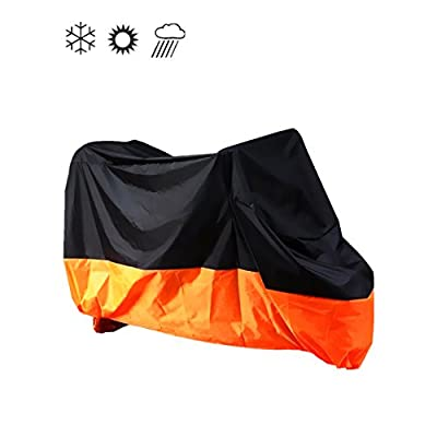 "Tokept Black & Orange Waterproof Sun Motorcycle cover (XXXL).116"" Fit to Honda Kawasaki Yamaha Suzuki Harley Davidson"