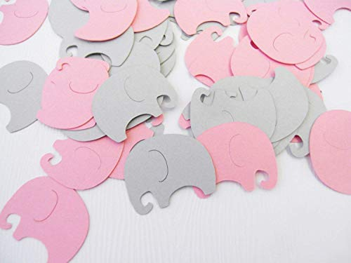 Baby Elephants Table Confetti | 100 pcs | Pink and Gray Baby Shower Decoration ()
