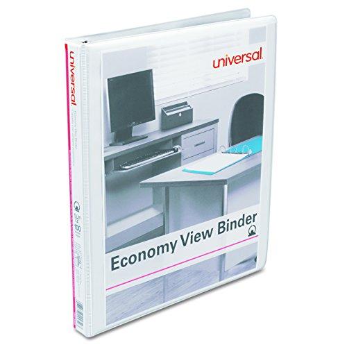 1/2 Capacity White Binders - Universal Economy Round Ring View Binder, 1/2 Capacity, White, pack of 6