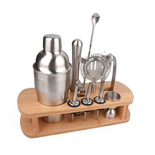 - Home Cocktail Bar Set by Cresimo - Brushed Stainless Steel 12 Piece Professional Bar Tool Kit - 100% GUARANTEE AND WARRANTY. Includes Martini Shaker, Muddler, Jigger, Bamboo Wood Stand and More!