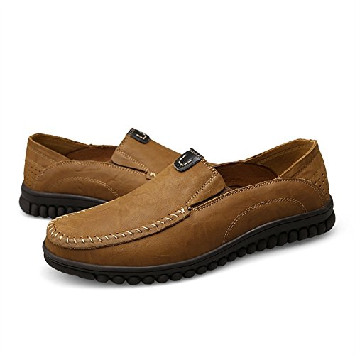 da Marrone in Scarpa Pelle Casual Loafer Slip Studio Mocassino Uomo on 1 Chiaro SK Vera xwaRAqn