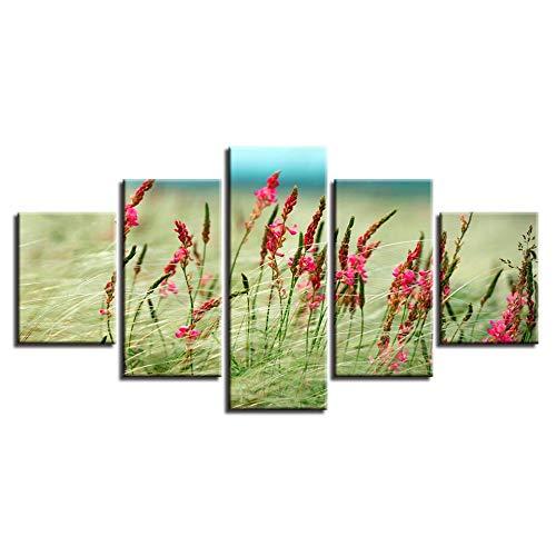 muchas sorpresas GUDOJK Lienzo Impreso Pintura Decoración Decoración Decoración del Hogar Sala de Estar 5 Unidades Campo de Césped Flor Naturaleza Imágenes Ventosas Modular Wall Art Poster Marco 20x35 20x45 20x55cm  tienda de bajo costo