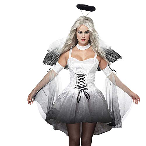 LOKODO Fallen Angel Dress Costume Women's Sexy Wing Cosplay Halloween Costume Make up Party Dress White 2XL -