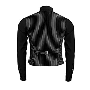 Jila 1920s Adult Men's Gangster Shirt, Vest and Tie Costume Accessories Set Roaring 20s Fancy Dress up Outfit Suit (Large)