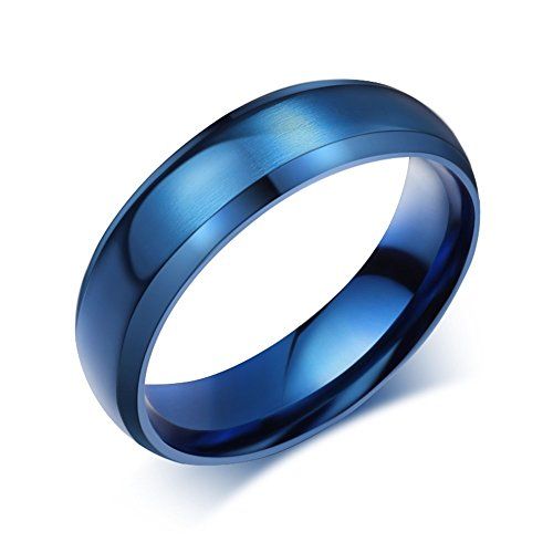 (VNOX Mens Womens Blue Stainless Steel Plain Wedding Band Ring Jewelry Matte Surface,Polished,Size 9)