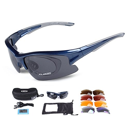 Lorsoul Polarized Sports Sunglasses with 5 Interchangeable Lenses, Tr90 Unbreakable glasses for Men Women Cycling Driving Running MTB Racing Ski Goggles (Blue)