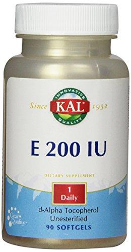 KAL E-200 D-Alpha Tocopherol 200 IU Softgels, 90 Count (Iu Natural E200)