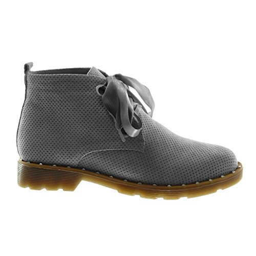 Perforée Angkorly Lacet Cm Talon Clouté Ruban Mode Desert Bottine Bloc Chaussure Derbies 3 Satin Boots Gris Femme UFxvqTUwp