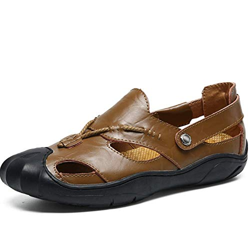 pelle chiuse estate Sandali ciabatta Comoda uomo da 41 Darkbrown escursionismo Yellowbrown in q5XxqgOt
