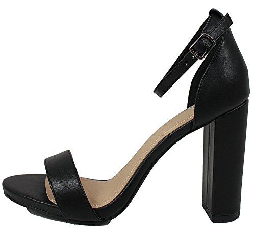 Strap Stiletto Platform Toe Casual High Women's Heels Ankle Evening Pu Delicious Black Open Pumps wvqx0T