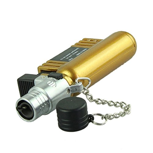 Mikey Store Jet Torch Windproof Cigarette Lighter AM-136 - Windproof Refillable Butane Gas (Gold)