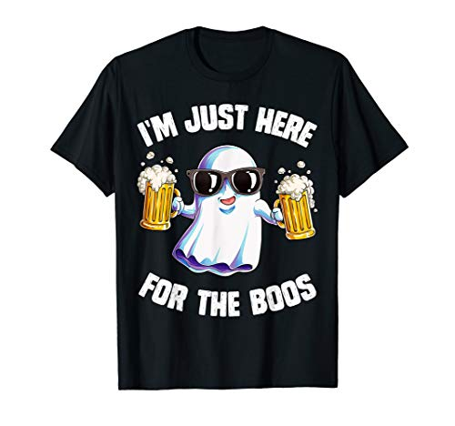 I'm Just Here For The Boos T shirt Halloween Men Funny Ghost ()