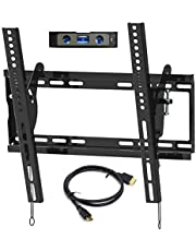 "Everstone Universal Tilting Wall Mount for 23-55"" Flat Screen TVs,Curved TVs up to VESA 400x400mm &125 LBS,Low Profile Tilt tv Bracket fits 16"" Wall Studs,with HDMI Cable & Bubble Level"