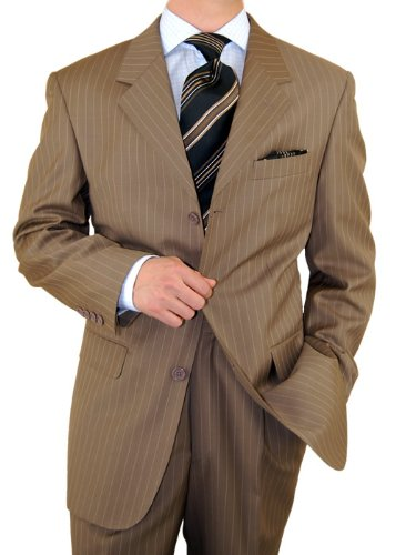 Emilio Signature Collection Men's Suit Classic Fit Wool 3 Button Taupe Tan 36R Taupe (Mens 3 Taupe Button Suit)
