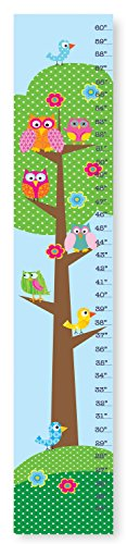 The Kids Room by Stupell Whimsical Owls And Birds In A Tree Growth Chart, 7 x 0.5 x 39, Proudly Made in USA -