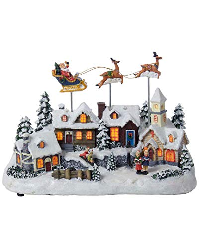 (Kurt Adler Battery Operated Musical LED Village with Santa and Deer, 11-Inch)