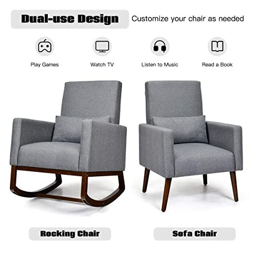 Living Room Giantex Set of 2 Rocking Chair Fabric High Back Armchair with Waist Pillow,Wooden Tapered & Rocking Dual Legs… modern accent chairs