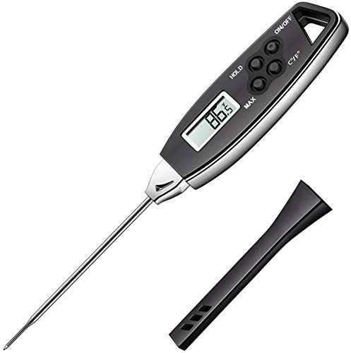 [2020 New Version] KTKUDY Waterproof Meat Thermometer Instant Read with Hold Function for Grilling Cooking Food Candy Thermometer Kitchen with Magnet for BBQ Smoker Grill Oven Thermometer